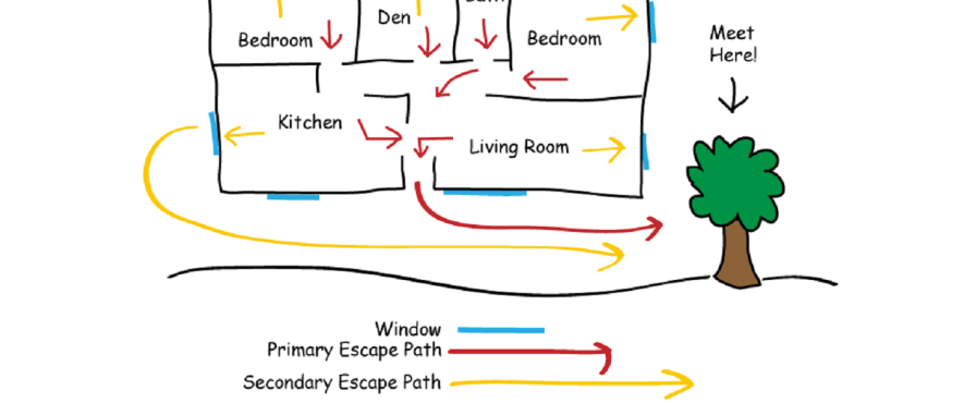 crayon drawn home fire escape floor plan