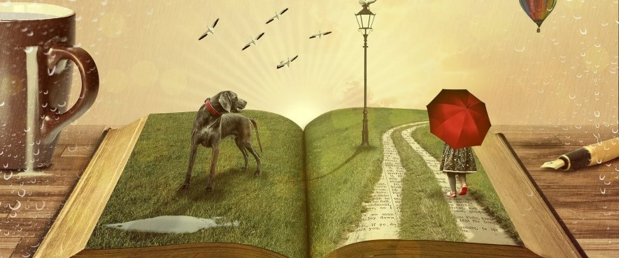 illustrated image of dog on a book with girl walking on a book carrying an umbrella