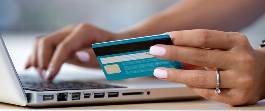 credit card and computer