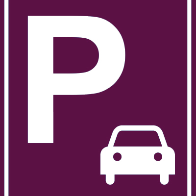 white car and P sign indicating parking on purple background