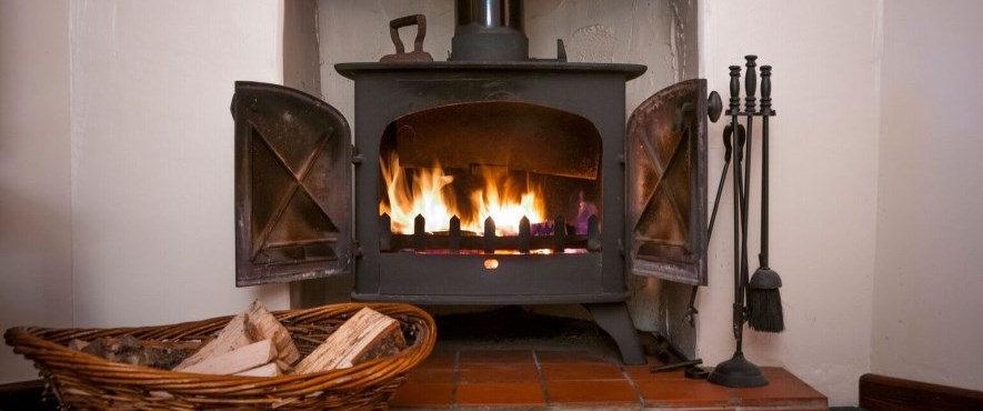 wood burning stove with fire inside
