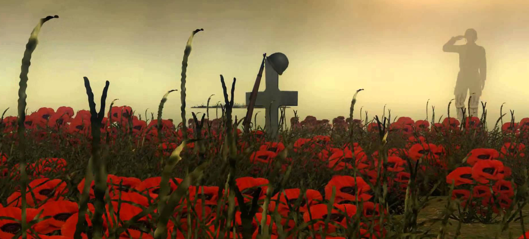 solider saluting cross in a field of poppies