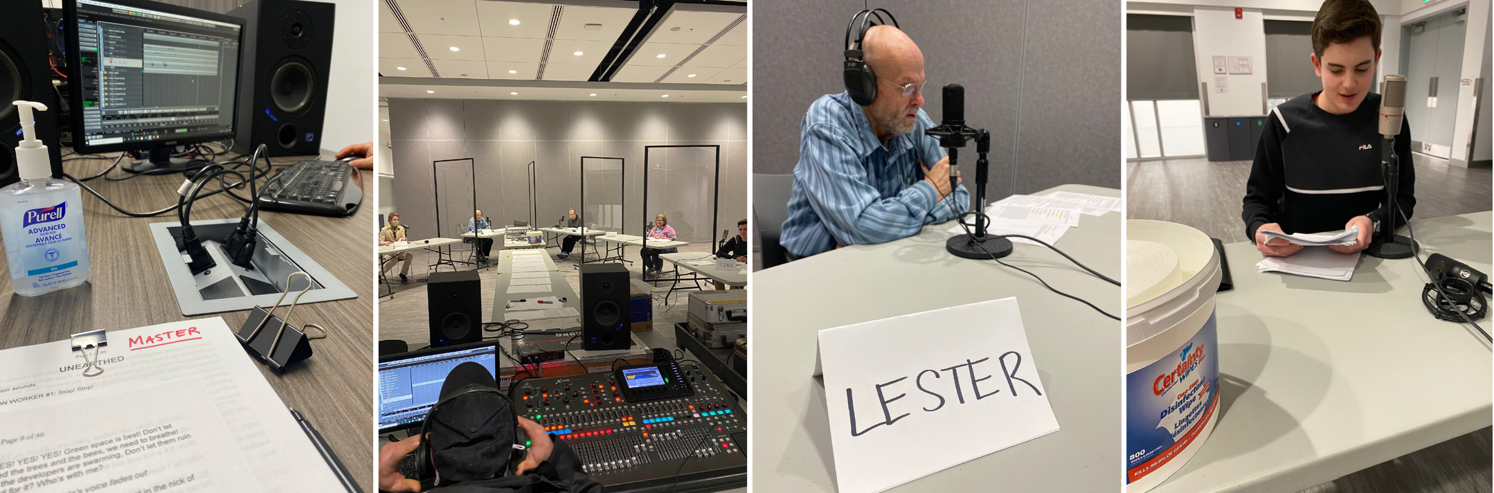 collage image of podcast set up and recording
