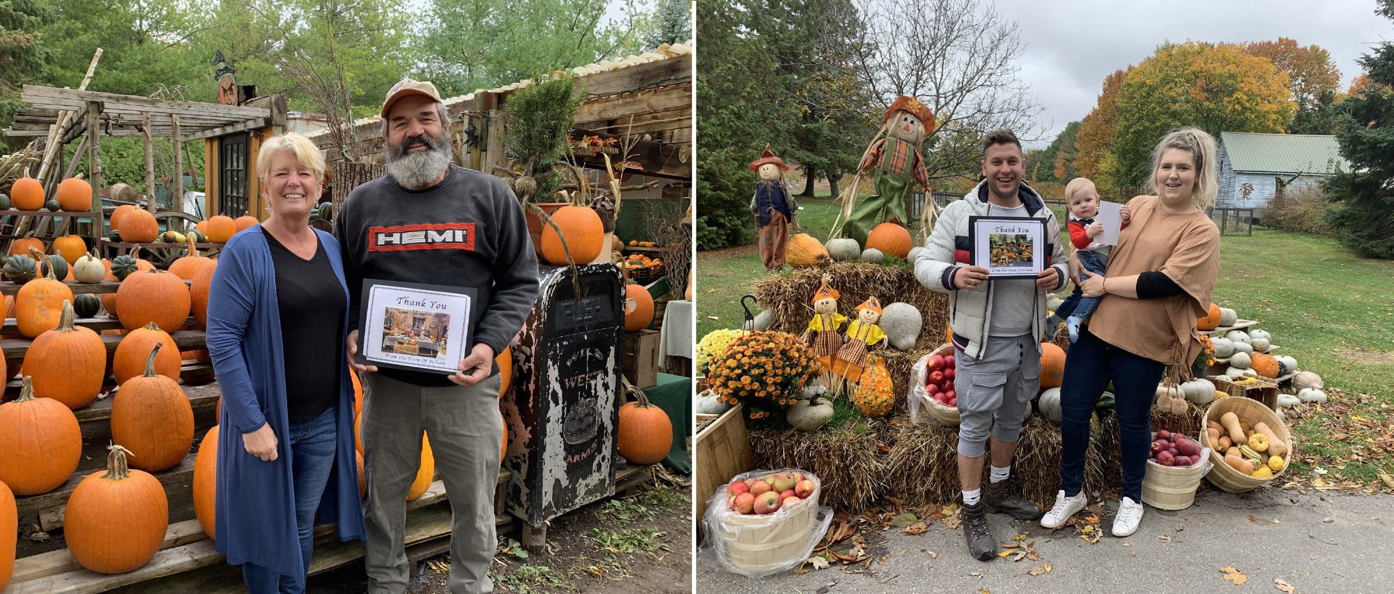 thank you winners posing in front of pumpkins