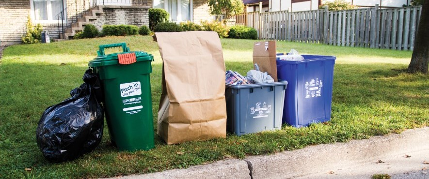 waste and recycling at curbside