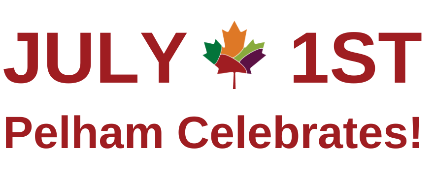 Text reading July 1st Pelham Celebrates with image of a maple leaf