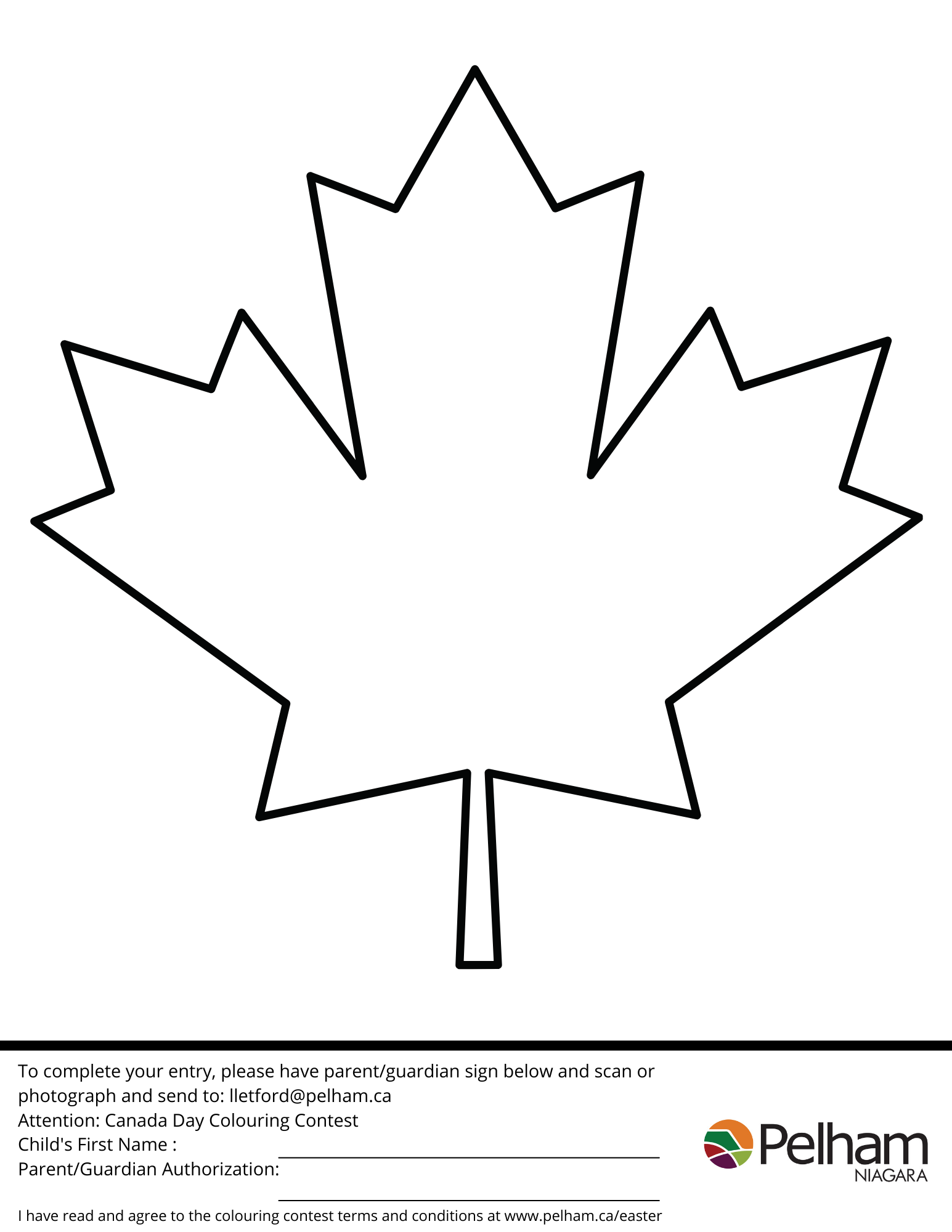 maple leaf image for colouring contest