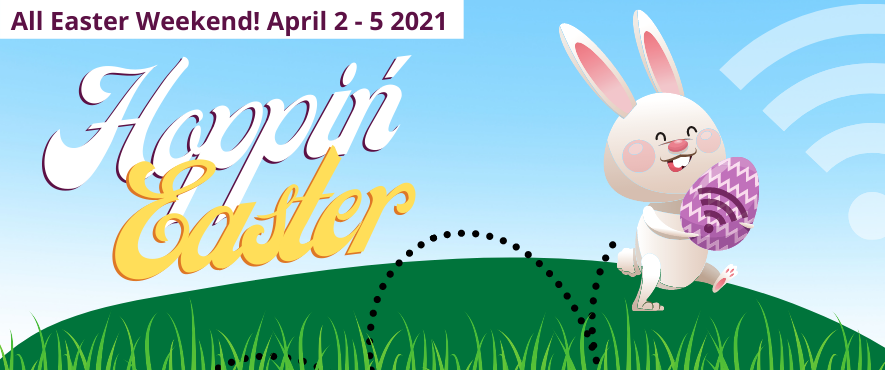 graphic image of easter bunny hopping on a grass surface with text hoppin' easter above