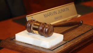 gavel on display in front of mayor marvin junkin nameplate