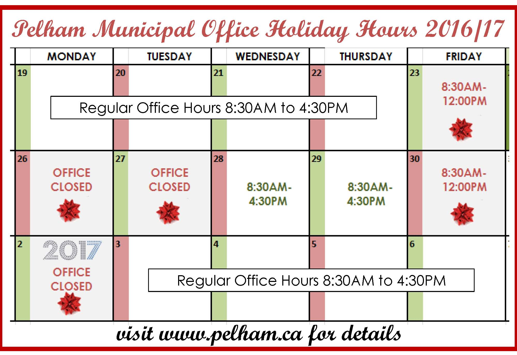 Municipal Office Holiday Hours 2016/17