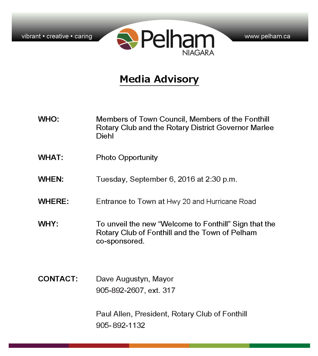 Media Advisory - Welcome Sign Unveiling