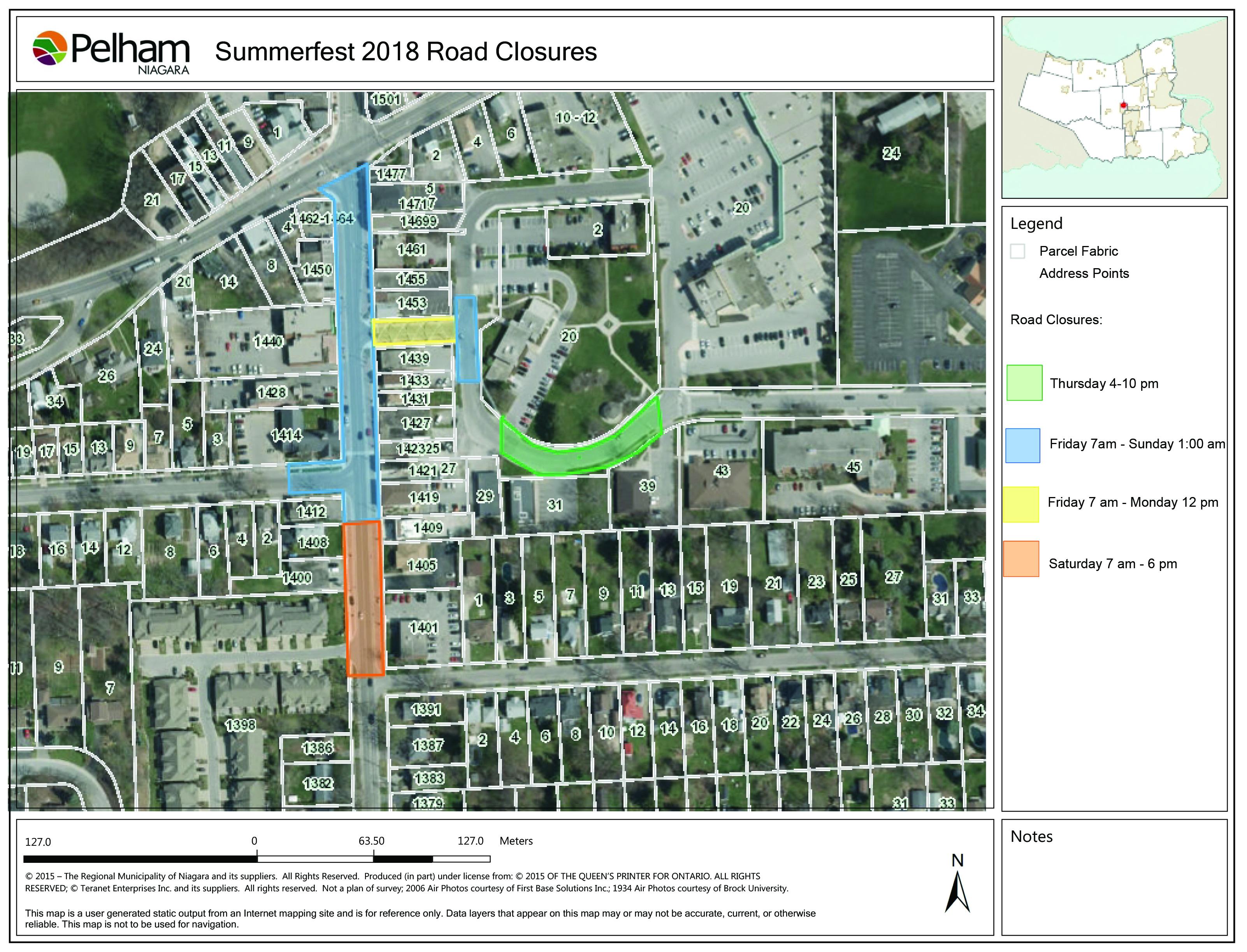 Summefest Road Closure Map